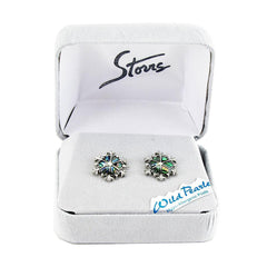 Storrs Wild Pearle  Abalone Shell Post Earrings Holiday Snowflake