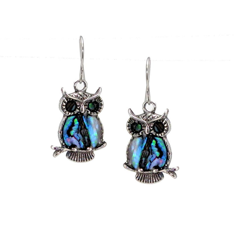 Storrs Wild Pearle Abalone Shell Dangle Earrings Regal Owl
