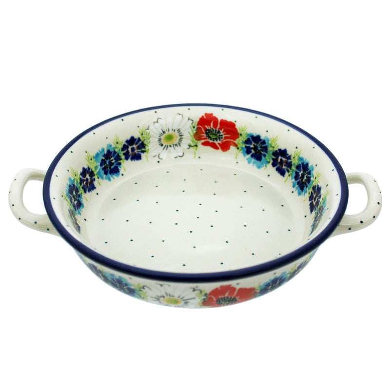 "Polish Pottery CA 8.5"" Round Baker w Handles - Red Passion"