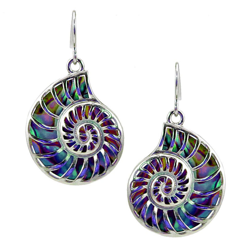 Storrs Wild Pearle  Abalone Shell Dangle Earrings Nautilus Shell