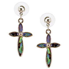 Storrs Wild Pearle  Abalone Shell Dangle Earrings Elegant Cross