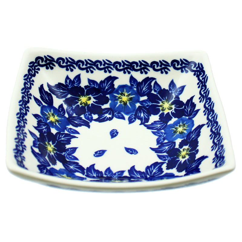 "Polish Pottery 5"" Square Dalia Bowl Unikat Series - T201"