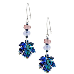 Storrs Wild Pearle  Abalone Shell Dangle Earrings Maple Leaf Jewels