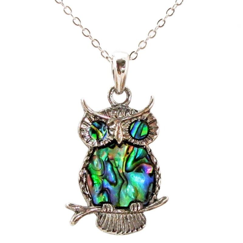 Storrs Wild Pearle 18''  Abalone Pendant Necklace Regal Owl