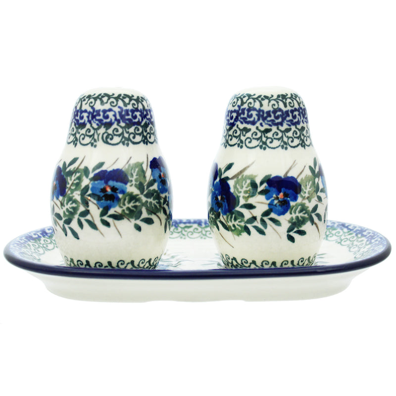 Polish Pottery 3 Piece Salt And Pepper Set W Serving Tray 131-2273X