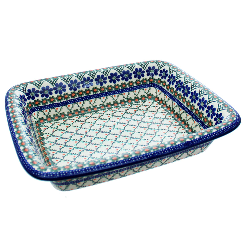 "Polish Pottery CA 12"" Rectangular Baker with Lip - 854A"