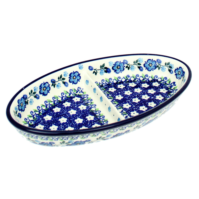 "Polish Pottery CA 9"" Divided Oval Dish - Spring Melody"