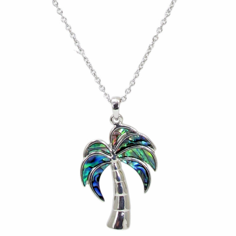 Storrs Wild Pearle 18''  Abalone Pendant Necklace Palm Tree