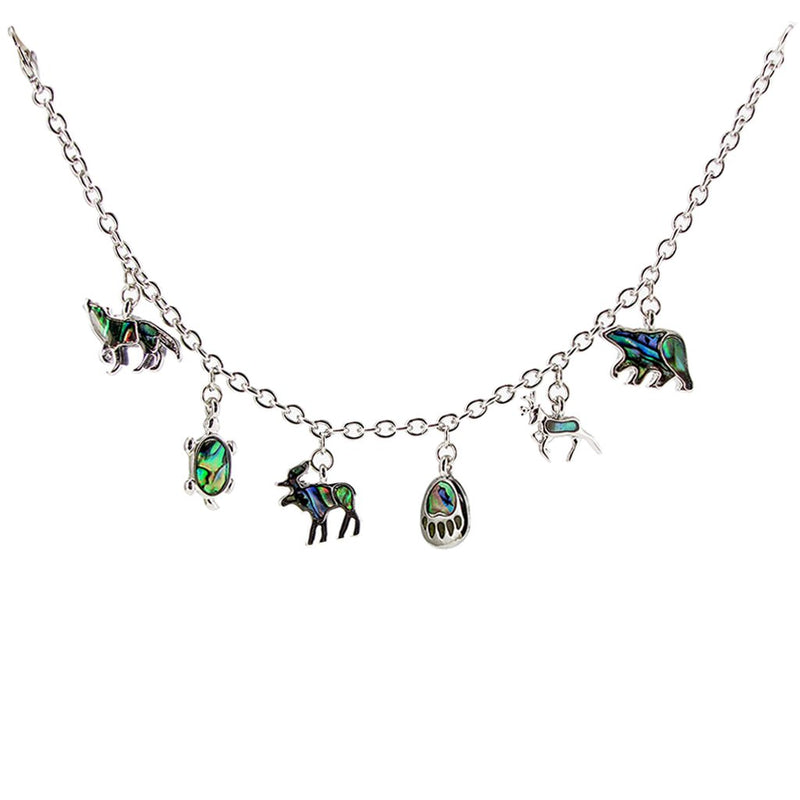 Storrs Wild Pearle 7''  Abalone Shell Wildlife Charm Bracelet