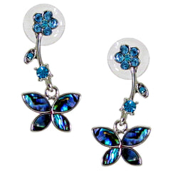 Storrs Wild Pearle  Abalone Shell Post Earrings Butterfly Garden