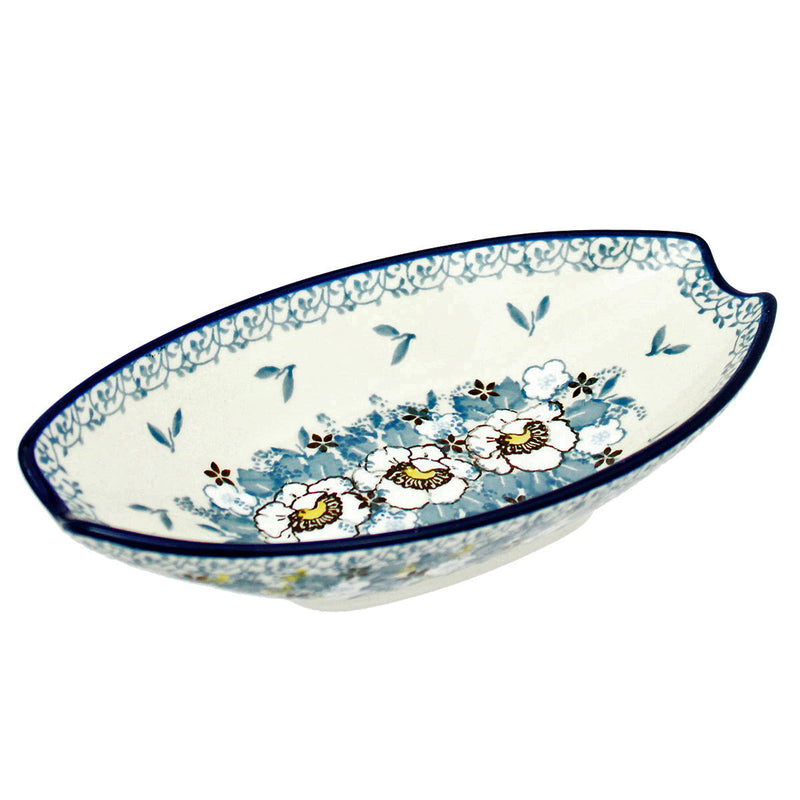 "Polish Pottery CA 6.75"" Oval Condiment Dish - 0002X"