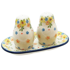 Polish Pottery 3 Piece Salt And Pepper Set With Serving Tray 131-2225X