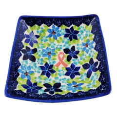 Polish Pottery Exclusive Breast Cancer Ribbon Pattern 5 1/4