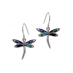 Storrs Wild Pearle  Abalone Shell Dangle Earrings Elegant Dragonfly
