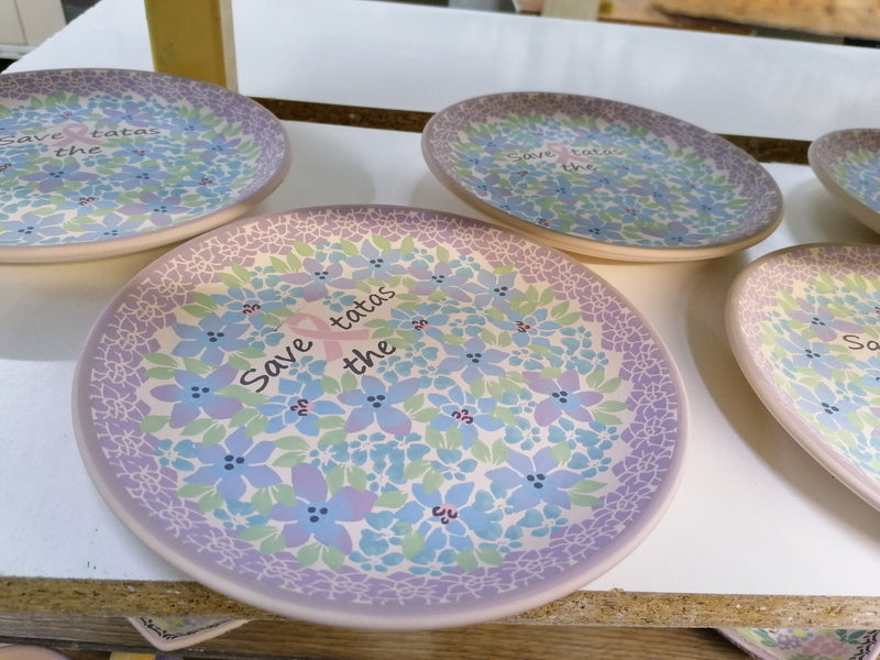 "Polish Pottery Exclusive Breast Cancer Ribbon Pattern 7"" Dessert Plate - Pink Dahlias"