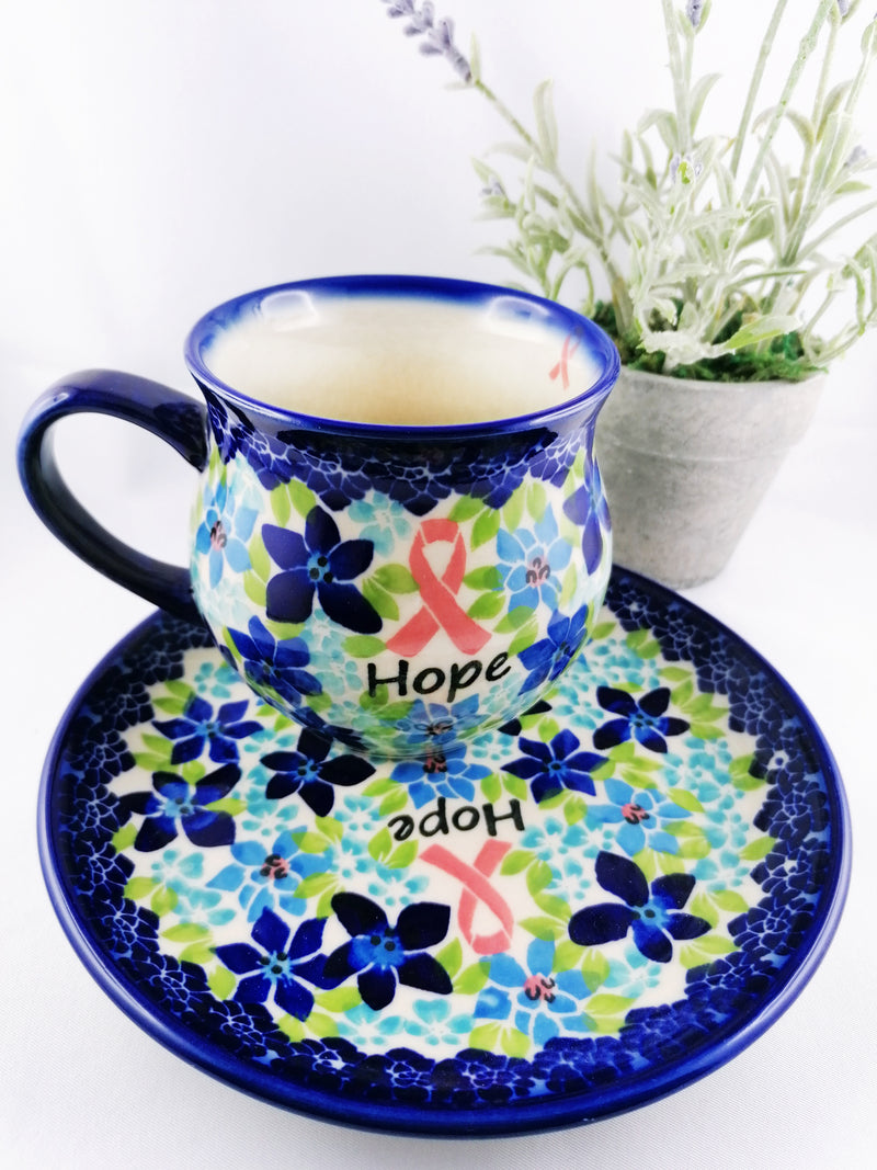 Polish Pottery Exclusive Breast Cancer Ribbon Pattern 12 oz Bubble Mug - Blue Flax