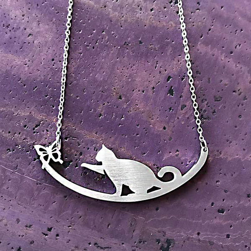 "Close2URHeart Stainless Steel 18"" Necklace - Cat"