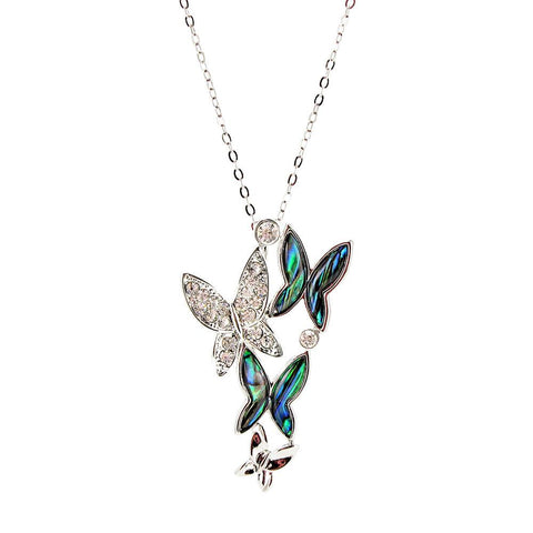 Storrs Wild Pearle 18'' Handmade Abalone Pendant Necklace Butterfly Majesty