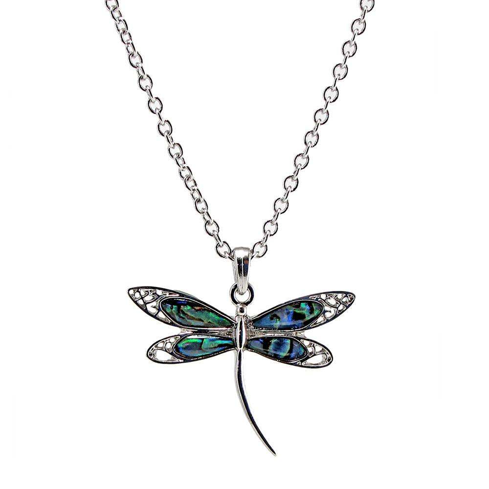 Storrs Wild Pearle 18'' Handmade Abalone Pendant Necklace Elegant Dragonfly