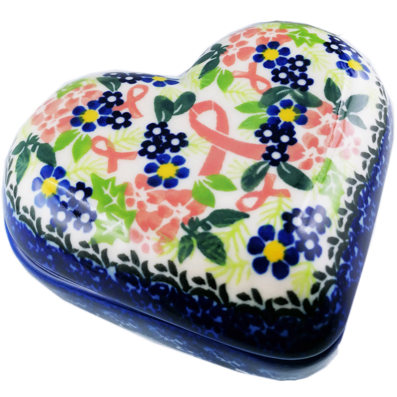 "Polish Pottery Exclusive Breast Cancer Ribbon Pattern 5"" Heart Keepsake Box - Pink Dahlias"