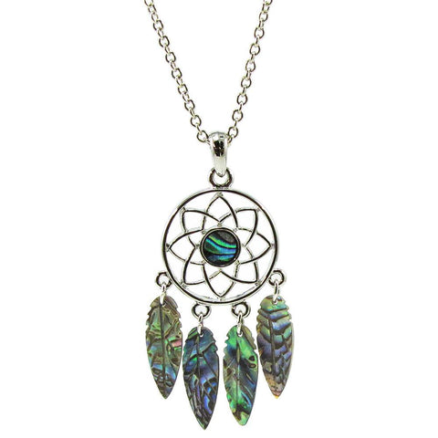 Storrs Wild Pearle 18'' Handmade Abalone Pendant Necklace Dreamcatcher