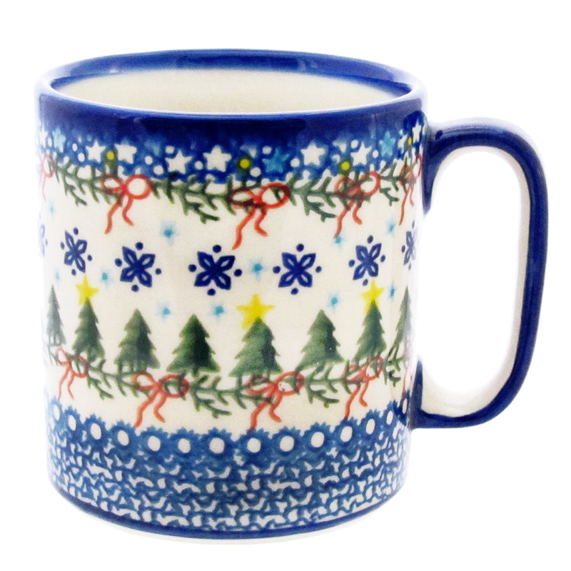 Polish Pottery Unikat 12 oz Straight Sided Mug  V055-Christmas Trees