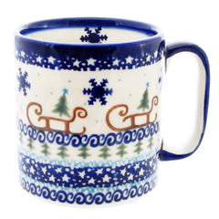 Polish Pottery Unikat 12 oz Straight Sided Mug  V055-Sleigh w Tree
