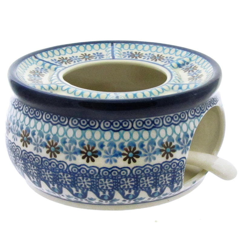 "Polish Pottery 6"" WARMER FOR TEAPOT w CANDLE TRAY - 2178X"