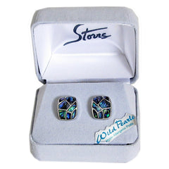 Storrs Wild Pearle  Abalone Shell Post Earrings Mosaic Rectangle