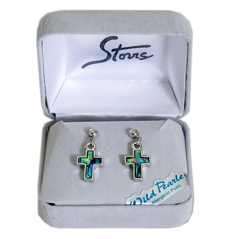 Storrs Wild Pearle  Abalone Shell Post Earrings Simple Cross