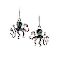 Storrs Wild Pearle  Abalone Shell Dangle Earrings Swimming Octopus
