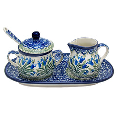 Polish Pottery CA 5 Pc Sugar & Creamer with Tray and Sugar Spoon - 1432X