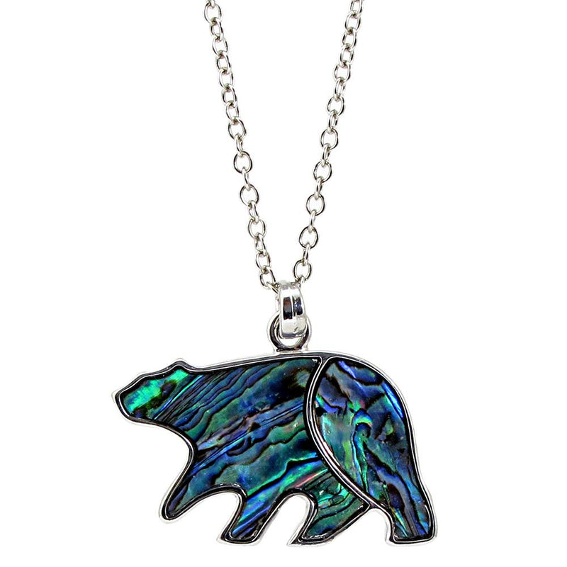 Storrs Wild Pearle 18''  Abalone Pendant Necklace Large Midnight Bear