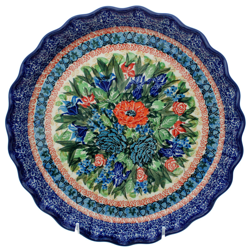 "Polish Pottery 10"" Scalloped Pie Baker - U4093"