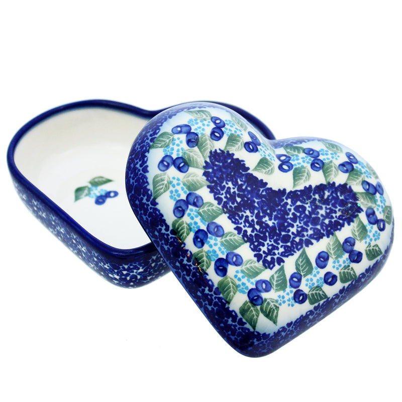 "Polish Pottery Dalia 5"" Heart Keepsake Box - U215"