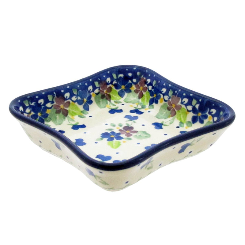 "Polish Pottery 4.5"" SHALLOW SQ FLUTED DISH 630 - 0222X"