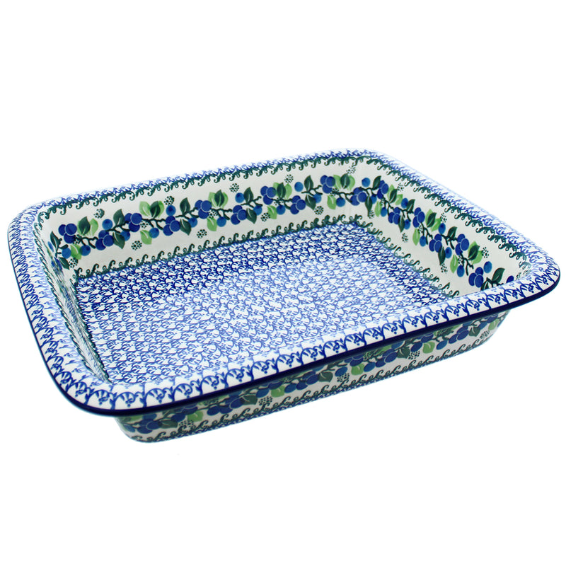 "Polish Pottery CA 14"" Rectangular Baker with Lip - 1416X"