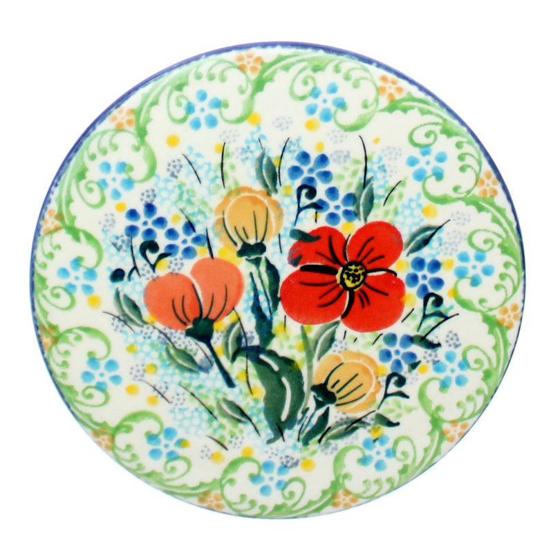 "Polish Pottery CA 4.5"" Large Coaster - U2914"