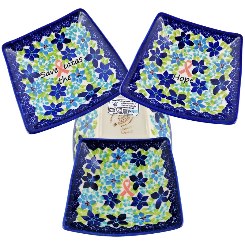 "Polish Pottery Exclusive Breast Cancer Ribbon Pattern 5 1/4"" Square Bowl  - Blue Flax"