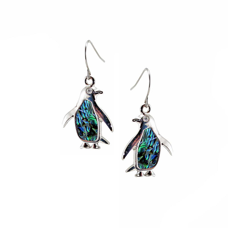 Storrs Wild Pearle  Abalone Shell Dangle Earrings Penguins