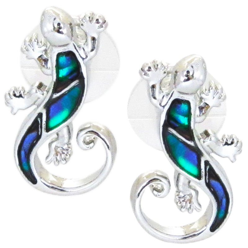 Storrs Wild Pearle  Abalone Shell Post Earrings Gecko