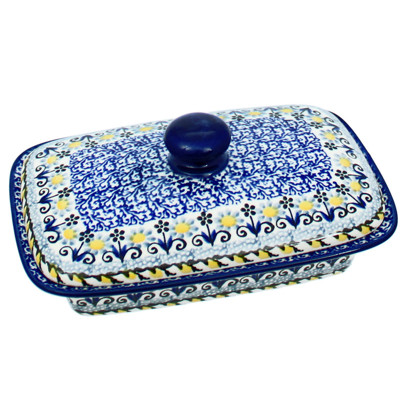 "Polish Pottery CA 7"" Low Profile Butter Dish - 2178X"
