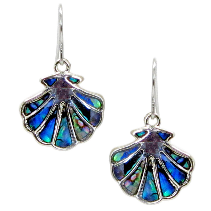 Storrs Wild Pearle  Abalone Shell Dangle  Earrings Fan Shell