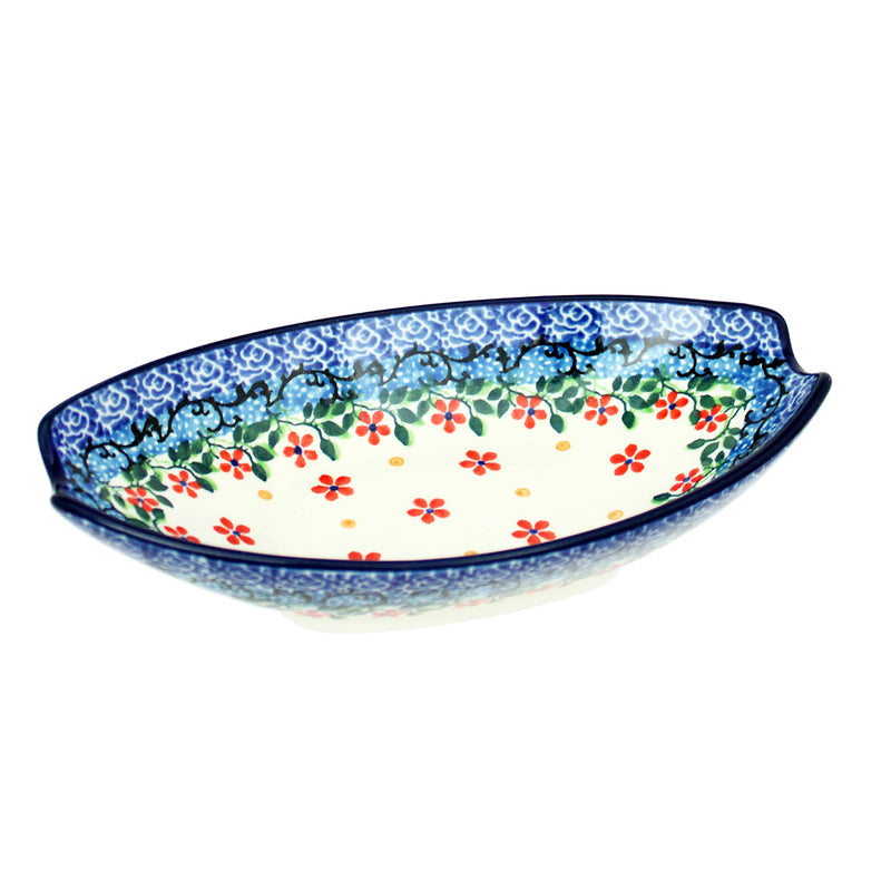 "Polish Pottery CA 6.75"" Oval Condiment Dish - 2284X"