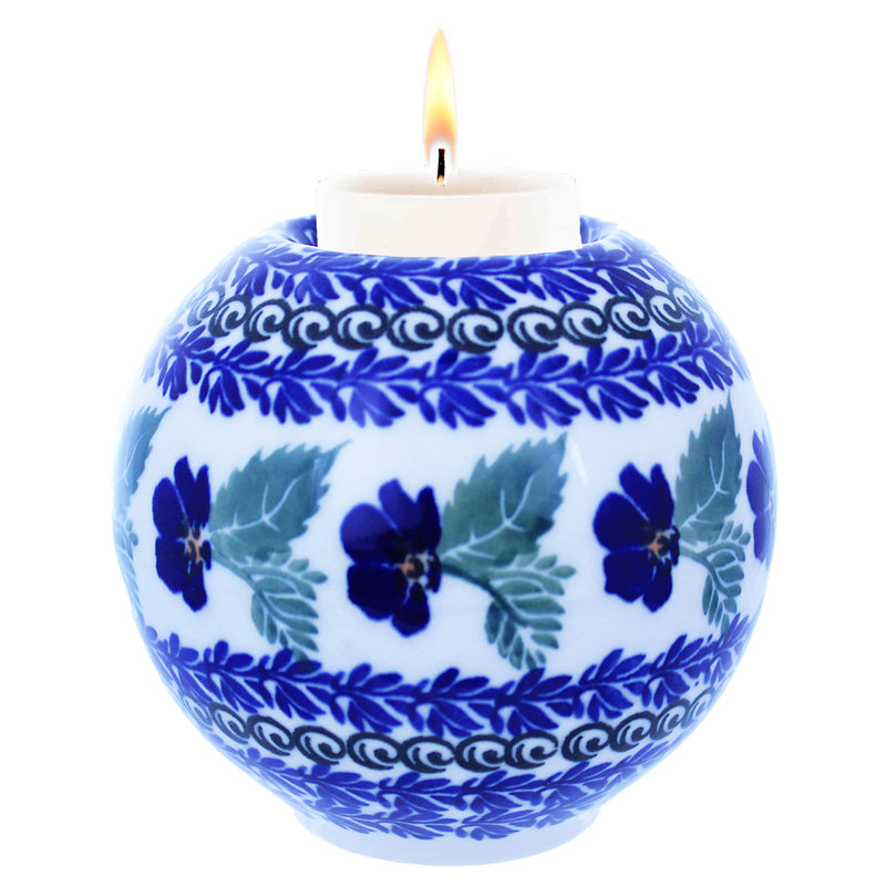 "Polish Pottery 4"" Round Tea Light Holder - U221"