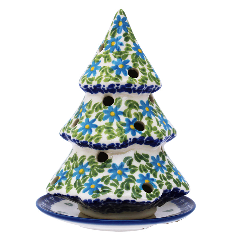 "Polish Pottery 5.25"" Christmas Tree Candle Holder (5 Pattern Choices)"