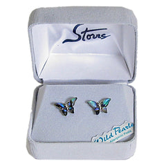 Storrs Wild Pearle  Abalone Shell Post Earrings Petite Butterfly
