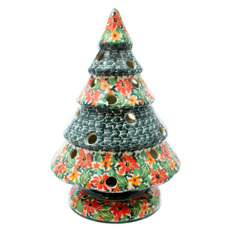 "Polish Pottery Unikat 12"" Tree Candle Holder (2 Pcs) - Red/Orange Poppies"