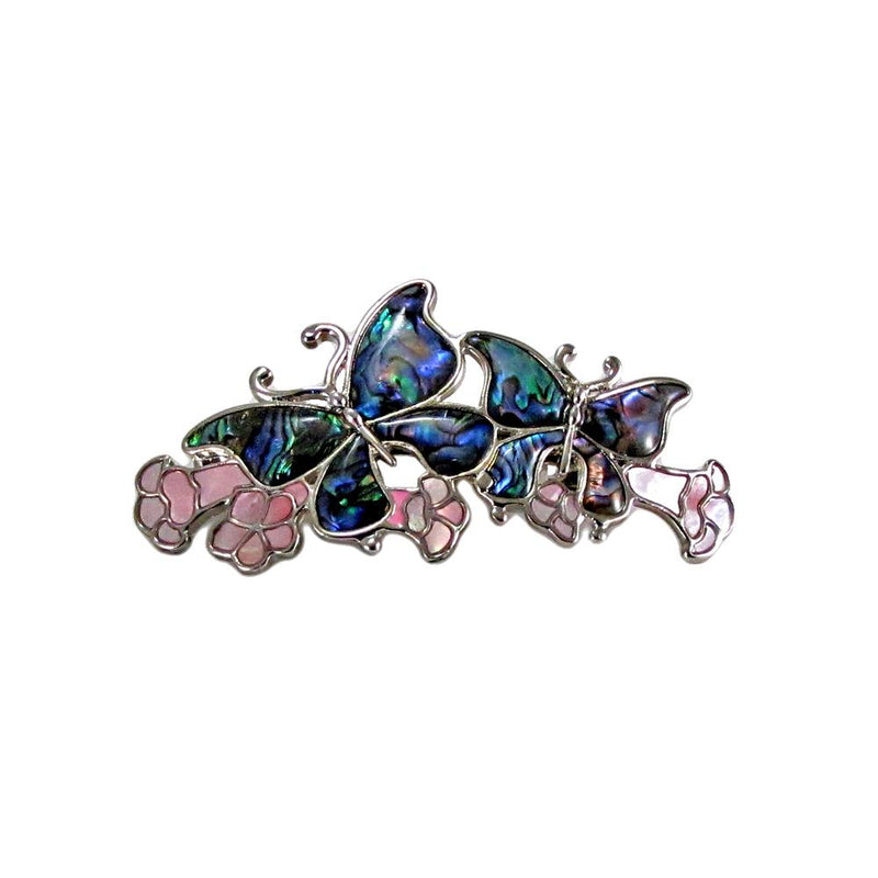 Storrs Wild Pearle  Abalone Shell Hair Barrette Butterfly Majesty