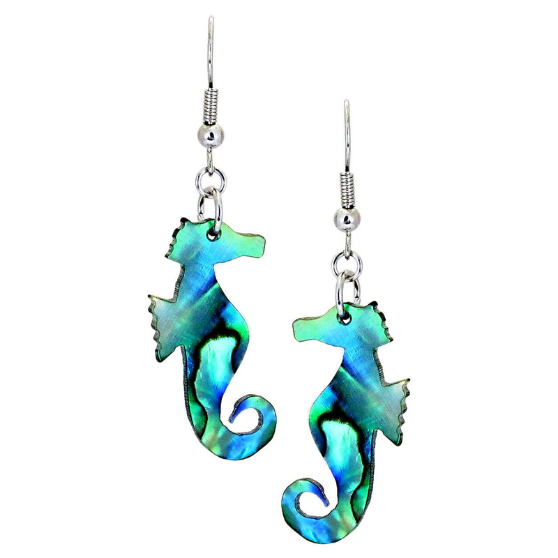 Storrs Wild Pearle  Abalone Shell Dangle Earrings Carved Seahorse
